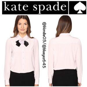 Kate Spade Rosette bow silk shirt top M NWT